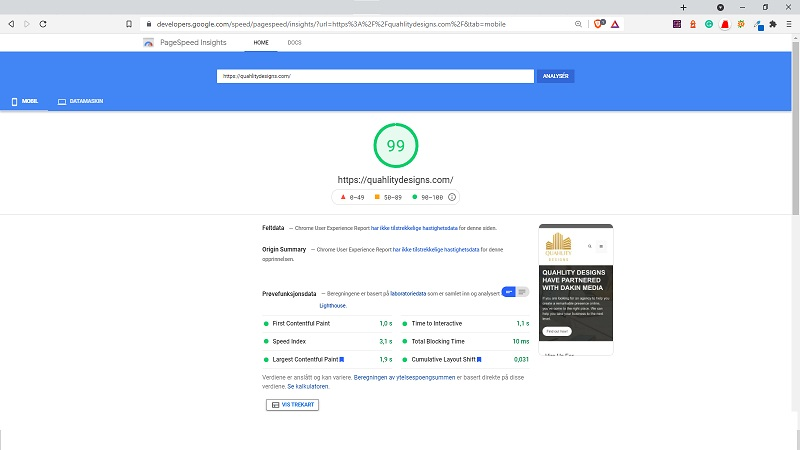 google page speed insights test